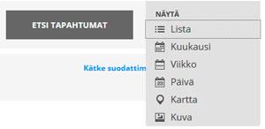 Suomi-Venäjä-Seuran tapahtumakalenterissa voi vaihtaa näkymiä listauksesta kalenteriin