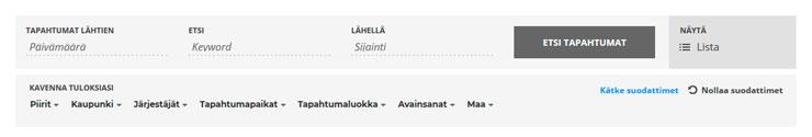 Suomi-Venäjä-Seuran tapahtumakalenterin hakukriteerit