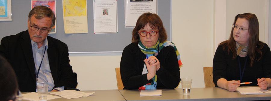 Kansalaisjärjestöt Venäjä-tutkimustiedon jalkauttamisessa -panelistit Markku Turkia, Meri Kulmala ja Susan Ikonen.