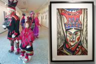 Yleiskuva ja taulukuva näyttelystä Saamepuvut ja Pohjoinen satujen maa